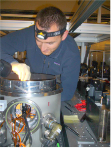 This picture of me was taken during the alignment of the FSU cold optics inside the cryostat at the Paranal observatory on August 1st, 2008.